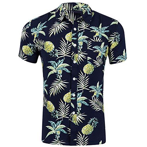 Karneshop Sommerhemd Hawaiian Style Blumenmuster Lässige Kurzarm Outfits Urlaub Tragen Fit Party Flower Shirt (Ananas Kokosnuss) XXL, Schwarz