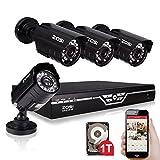ZOSI 4CH Full D1 960H HDMI DVR und 4X Wasserdicht 800TVL Nachtsicht HD Kameras CCTV Überwachungskamera Video Sicherheit System mit 500GB HDD