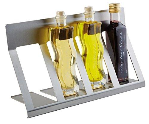 """Flaschen Display """"SMALL"""" aus mattiertem Edelstahl, für 4 Flaschen / 42 x 15 x 19,5 cm   SUN"""