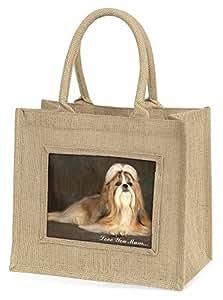 Advanta ad-sz1lymbln Shih-Tzu Hund Love You Mum Große Einkaufstasche/Weihnachten Geschenk, Jute, beige/natur, 42x 34,5x 2cm
