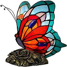 Arte dal Mondo Tiffany Lampade da Comodino Farfalla, Vetro/Resina bronzata, Multicolore, 21 x 21 x 15 cm