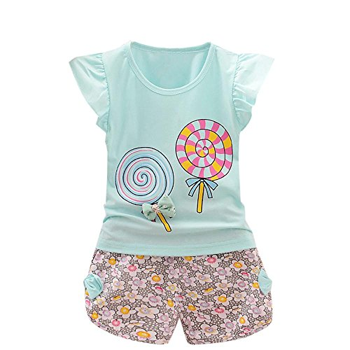 Faux 2 Stück Top (Babykleidung Outfits Sommer Bekleidung Kinderbekleidung Mädchen Sommer Blumendruck T-shirt Weste Tops + Shorts Hosen 2 STÜCKE Set Kleinkind Oberteile + Shorts Hosen Kind Baby LMMVP (Light Blue, S))