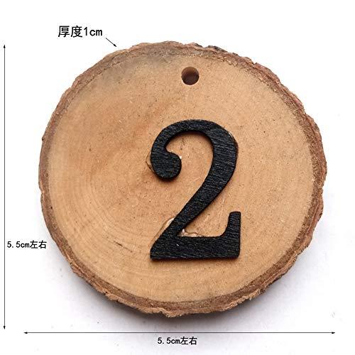 XuBa 10 Stück Holzbaum-Scheiben DIY Hochzeit Tisch 1-10 Zahlen Hängeanhänger (Hochzeit Zahlen Tisch Diy)