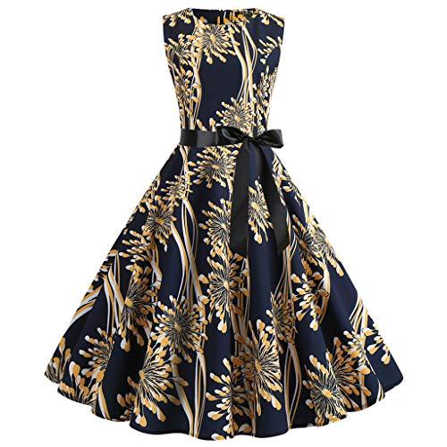 Chiffon Frill Sleeve Top (GOKOMO Damen 50er Vintage Retro Cap Sleeves Rockabilly Kleider Hepburn Stil Cocktailkleider(Gold-C,Medium))