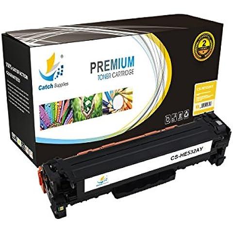 CC532A CatchSupplies sustitución de cartuchos de tóner amarillo para la serie HP 304A | 2.800 rendimiento | compatible con el CP2025 HP color LaserJet CM2320 y la serie de impresoras