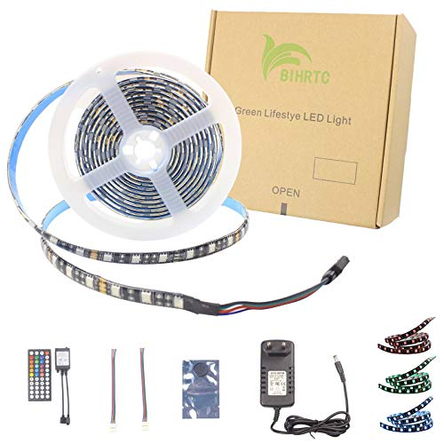 BIHRTC RGB LED Streifen Strip Set Kit 5050 SMD 2M 6.56ft 120 LEDs Band Licht Lichtband Lichtstreifen Wasserdicht IP65 Flexibles Beleuchtung in Schwarz PCB mit 44 Tasten Fernbedienung und 12V Netzteil