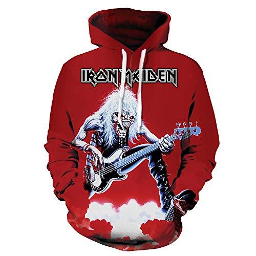 MULIZHE Iron Maiden 3D Patrón De Dibujos Animados Sudadera Manga Larga Cuello Redondo Chaqueta Casual Hombres Y Mujeres Amantes Jersey De Algodón -XXL