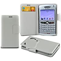 (White) Blackberry 8830 World Edition Mega sottile Protezione in ecopelle