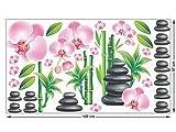 GRAZDesign 991209_57 Fenstersticker Bambus/Steine und Orchideen | Fensterbilder als Bunte Tattoos Fürs Bad (100x57cm)