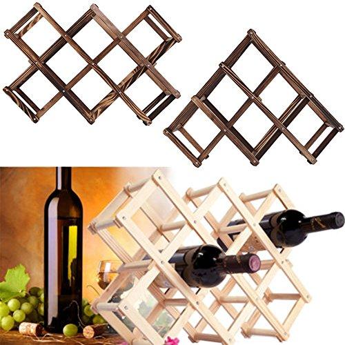 Mobile 5-regal Bücherregal (ducomi® Vinoria–Weinregal aus Holz klappbar für Wein und Enoteca–Elegantes und raffiniertes Präsentationsständer mit Papier der Weine in gratis 10 Bottiglie Dunkles Holz)
