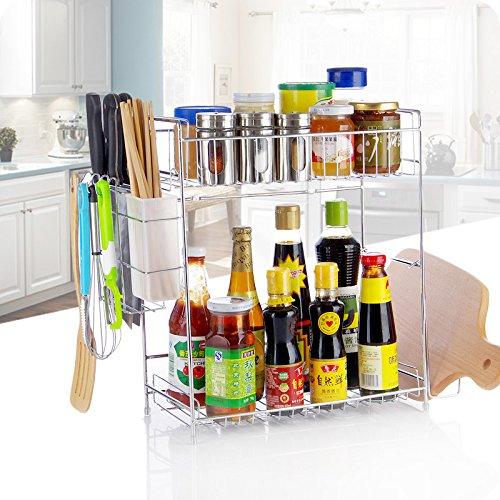 Lying Küche Standfuß Regal Edelstahl Double Layer Gewürzständer Stäbchen Käfig Schneidebrett -Verwendet, um die Küche aufzuräumen ( Farbe : Silber )