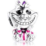 PANDOCCI 2020 Regalo per la Festa della Mamma Perline di Gatto Cheshire Argento 925 Fai da Te Adatto per bracciali Pandora Or