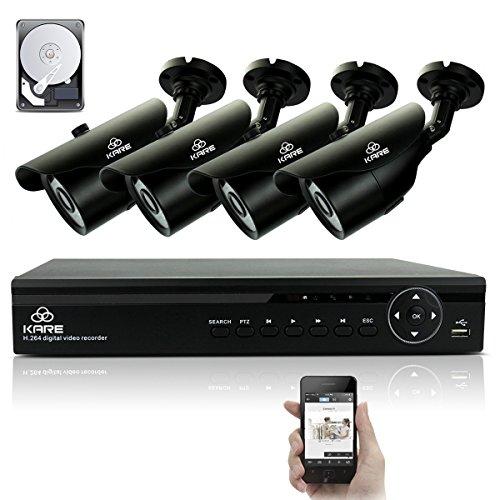 Kare® 4canali registratore video digitale HDMI sistema con 4esterno giorno/notte 720p Bullet fotocamere e 1TB Hard disk (720P, HDMI/VGA/BNC, visione notturna a infrarossi impermeabile IP681280x 720pixel)
