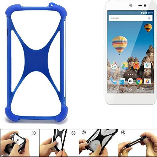 K-S-Trade Bumper General Mobile GM 5 Silikon Schutz Hülle Handyhülle Silikoncase Softcase Cover Case Stoßschutz, blau (1x)
