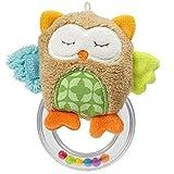 Fehn 071481 Rasselring Eule/Greifling zum Rasseln, Fühlen, Spielen mit kuschelweicher Stoff-Eule, für Babys und Kleinkinder ab 0+ Monaten