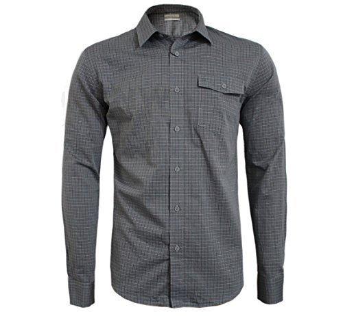 Calvin klein uomo quadretti in cotone logo maglietta grigio l,xl,xxl slim fit - cotone, grigio, 100% cotone, uomo, xx-large