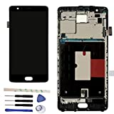 Full LCD display Digitizer Touch Screen Ecran Vitre Tactile Assembly Remplacement Pour OnePlus 3T A3010 (noir w/frame)