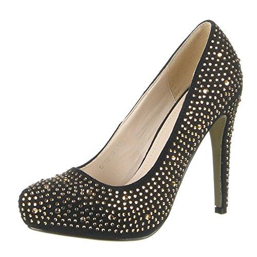 Damen Schuhe PUMPS STRASSSTEIN DEKO HIGH HEELS Schwarz Rot 36 37 38 39 40 41 Schwarz Gold