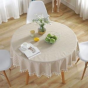 Meiosuns Runde Tischdecke Gestreifte Tischdecken Fringe Tischläufer Einfache und Elegante Heimtextilien für den Innen- und Außenbereich (Durchmesser 150 cm, Aprikose/weiße Streifen)