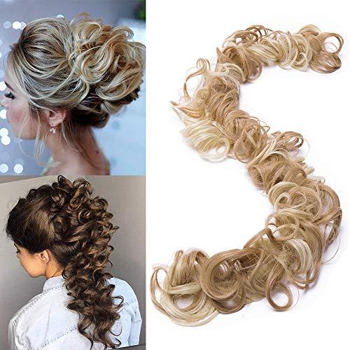 """TESS Haarverlängerung Ombre Ponytail Extension DIY Haargummi Haarteil Dutt Synthetik Haare für Haarknoten Zopf Pferdeschwanz Hair Extensions 32\"""" (80cm) 85g Hellgoldblond/Blond"""