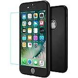 iPhone 7 Plus Funda Negro , ivencase Ultra Slim Flexibilidad Gel de Silicona Cover Caso+Vidrio Templado Protector de Pantalla 3 en 1 Diseño Frente Cubrir&Back Case&Vidrio Película Protección Carcasa para iPhone 7 Plus - Black