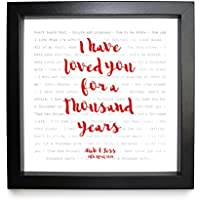 Christina Perri, A Thousand Years (Twilight Soundtrack) - Song Lyrics Print Framed & Personalised - Anniversary Valentine's Wedding Gift perfect for him, her, couple