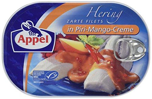 Appel Heringsfilets in Piri-Mango-Creme, 1er Pack Konserven, Fisch in Piri-Mangocreme