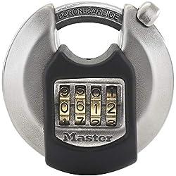 MASTER LOCK Cadenas Rond [Combinaison] [Acier Inoxydable] [Extérieur] M40EURDNUM - Idéal pour les espaces de rangement, les remises, les garages, les remorques