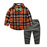 2 Baby Jungen Casual Kleidung SET Kinder Plaid Hemd Tops Hose Outfits (140)