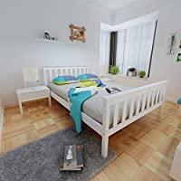 Sofatbed 4FT6 Wooden Double Bed Frame Pine Wood Bed in White
