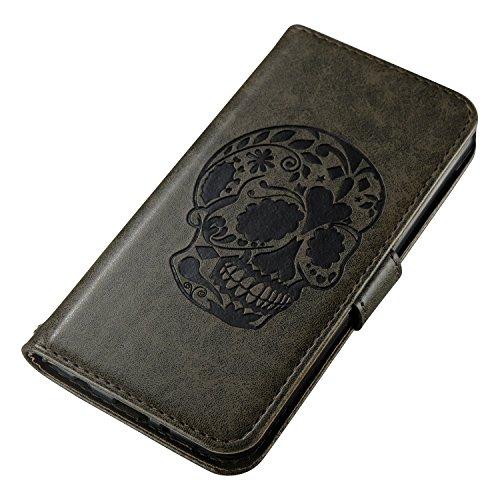 iPhone 7 Coque,Crème 3D Crâne noir Portefeuille Fermoir Magnétique Supporter Flip Téléphone Protection Housse Case Étui Pour Apple iPhone 7 + Deux cadeau gray