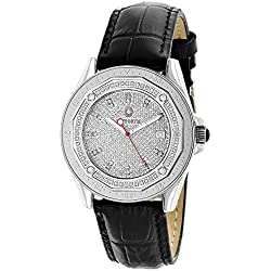Centorum Watches: Iced Out Designer Diamond Watch 0.5ct w Black Leather Band
