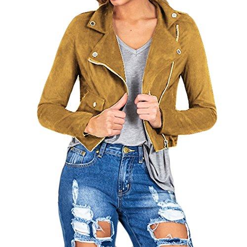 Classico da donna in finta pelle scamosciata Biker Slim Manica Lunga Giacca da uomo giacca moto vintage zip Up donne Outwear abbigliamento autunno e inverno vestiti 2colori 4misure Brown S
