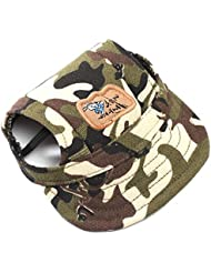 Japace® Lona TaLaño: M Lindo Mascota Gorra de Béisbol Sun Cap Cap Visera Sombrero Animal Doméstico Pet Dog Hat Con Orificios de Oído --- Camuflaje