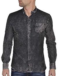 BLZ jeans - Chemise homme noir délavé slim