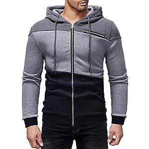 Tosonse Sweatshirt Herren Herbst Winter Farbe Patchwork Kapuzen Regenmantel Reißverschlusstasche Sweatshirt Jacke Mantel