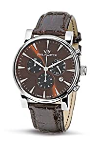 Philip Watch - R8271693055 - Wales - Montre Homme - Quartz Analogique - Chronographe - Bracelet en Crocodile véritable Marron