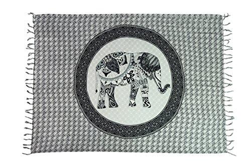 Exclusiv Originale Handarbeit von Ciffre Sarong - Große Auswahl hochwertiger Strandtücher aus Bali Indonesien - Viele Farbe - Pareo Designy by EL-Vertriebs GmbH SJ4 2 er Set Elefant Sarong
