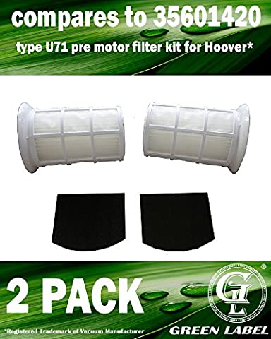 2 Pack Replacement U71 Type Pre Motor Exhaust Filter Kit for Hoover Spirit & Smart Vacuum Cleaners (compares to 35601420). Genuine Green Label