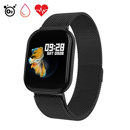 Fitness Tracker Cardiofrequenzimetro, Letopro Activity Tracker Pressione Sanguigna Smartwatch Impermeabile IP68 Guarda con Pedometri Sonno Monitor per iOS Android Donna Uomo (Nero)