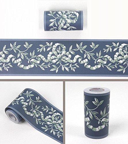 yenhome Floral Wasserdicht PVC Selbstklebende Tapete Bordüre Abziehen und Aufkleben Scroll Wand Bordüre Home Decor Wand Aufkleber 10cm X...