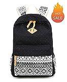 SQLP Schulrucksack Mädchen Teenager Damen Casual Canvas Rucksack Jugendliche Freizeitrucksack Daypacks (schwarz)