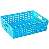 LIZHIQIANG Cesta De Almacenamiento De Cocina Cesta De Plástico Cesta Con Mancuernas Cesta De Cesta Rectángulo Cesta De Almacenamiento De Almacenamiento Cesta De Almacenamiento ( Color : Azul )