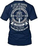 Camiseta Teespring con Impresión para Hombres y Mujeres - L - Je suis un Homme et un Viking