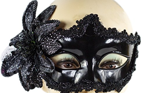 Frauen Kostüm Italien - Maske Augenmaske Venezia Schwarz sexy Maskenspiel Karneval Party Ball Gesicht Damen Halloween-Party