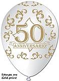bws-100Globos con impresión 50Aniversario, Color Blanco/Dorado, 30cm de diámetro, rr12ps15_ rsp1039