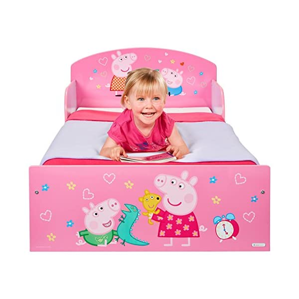 Peppa Pig Kids Toddler Bed by HelloHome Peppa Pig. Snuggle in after a day of play in this Peppa Pig Toddler Bed Perfect size for toddlers, low to the ground with protective and sturdy side guards to keep your little one safe and snug Fits a standard cot bed mattress size 140cm x 70cm, mattress not included. Part of the Peppa Pig bedroom furniture range from HelloHome 15