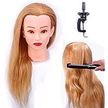 Cabeza Maniquí 100% Pelo Natural Peluqueria practicas Formación Muñeca de la Cosmetología (con soporte) EHA2718P