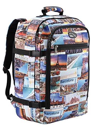 Cabin Max Metz - Sac à dos et bagage à mains pour cabine léger et certifié conforme - 44L 55 x 40 x 20 cm (photo cartes postales)
