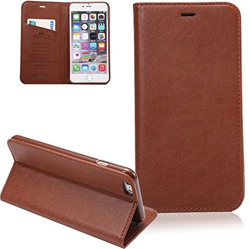 Preisvergleich Produktbild Bookstyle Flip Case iPhone 6 Plus / 6S Plus Lederhülle ISENPENK Exclusive Für Apple iPhone 6 Plus / iPhone 6S Plus hülle Leder Muster [Braun] Magnet